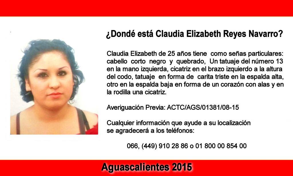 Se Cumple un año de la Desaparición de Claudia Elizabeth Reyes Navarro