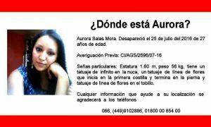 Sigue Desaparecida Aurora Salas Mora