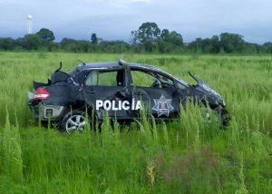 Patrulla de la Policía Estatal Sufre Volcadura