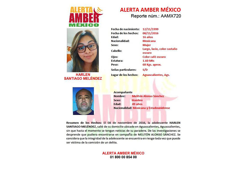 Activan Alerta Amber por Adolescente Desaparecida