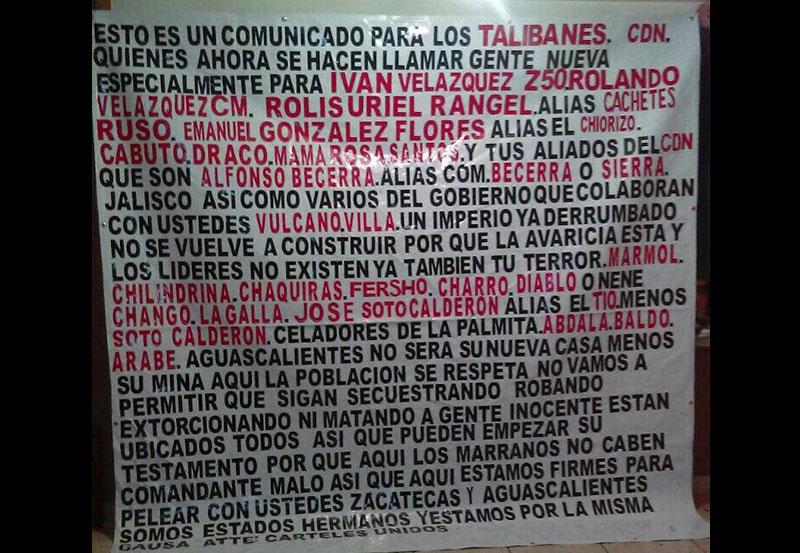 Colocan Narco Mantas en Cinco Municipios de Aguascalientes
