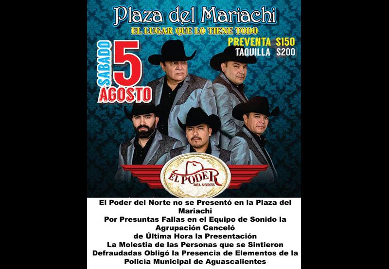 El Poder del Norte no se Presentó en la Plaza del Mariachi