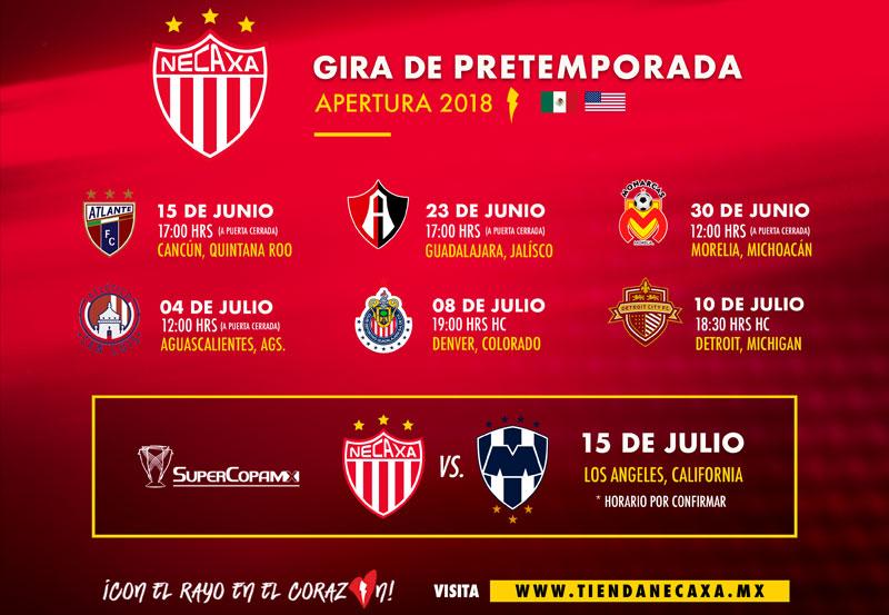 Club Necaxa Anuncia Partidos de Pretemporada