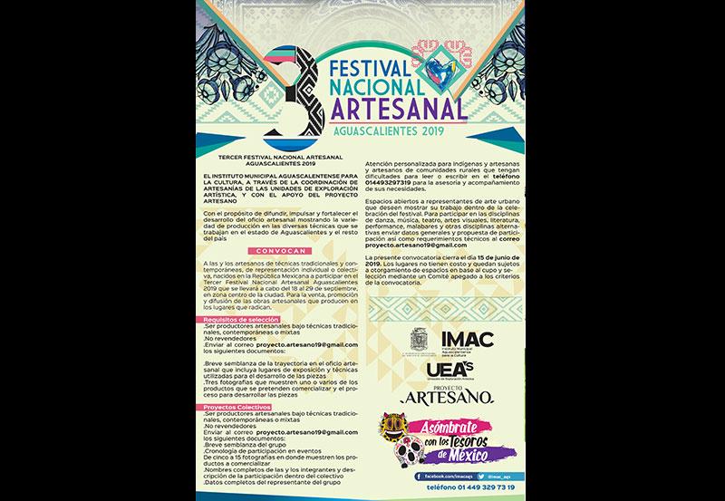IMAC Convoca al Tercer Festival Nacional Artesanal Aguascalientes 2019