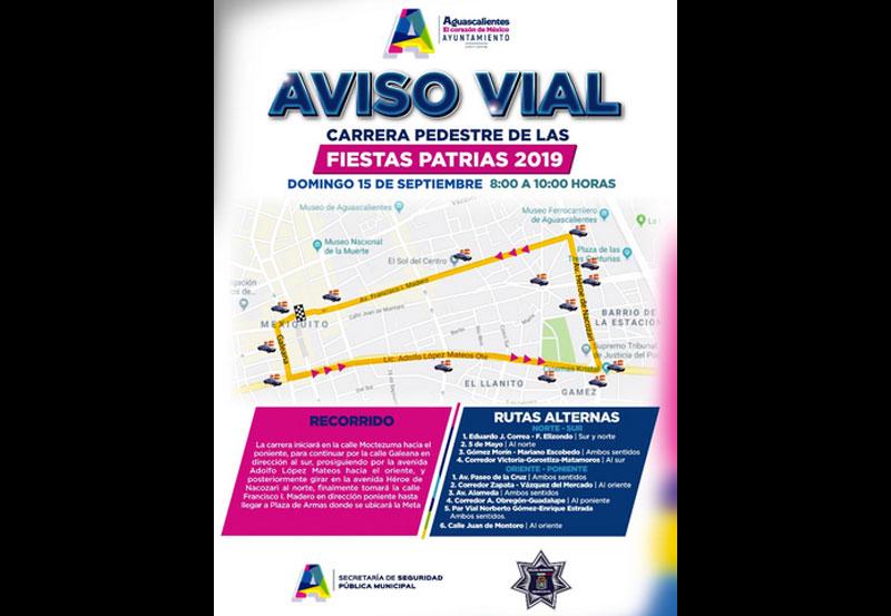Cierre de Calles en Zona Centro por Carrera de Fiestas Patrias 2019
