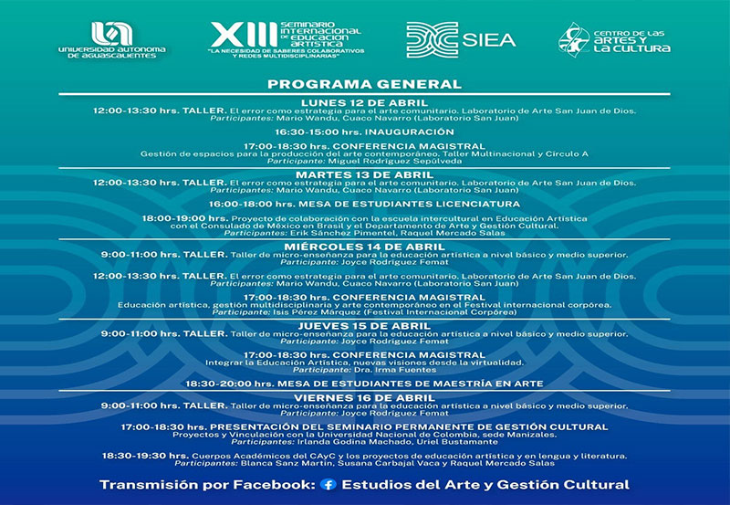 UAA Llevará de Manera Virtual el XIII Seminario Internacional de Educación Artística